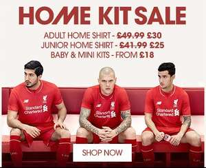 Liverpool FC home kit sale now only £30 @ LFC store