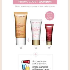 Clarins women's day - 3 free trial size products with every order
