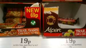 Alpen Trail Bars (48g) Chunky Nuts, Big Berries or Fruits & Nuts 19p Each @ Home Bargains