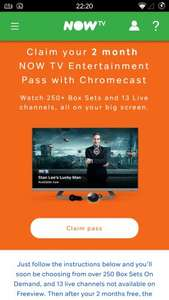 Chromecast offer: 2 months free Now TV Entertainment Pass