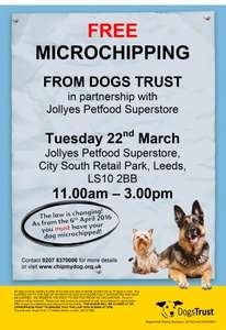 Free Dog microchipping @ Jollyes in Leeds