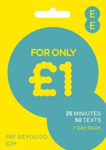 EE Pay as You Go SIM Card with £5 Credit - 99p FREE delivery @ EE Direct via Amazon