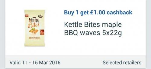 12 x Kettle Bites Maple BBQ Waves / Coconut, Lime & Chilli Waves / Sweet Chilli Curls / Mozzarella & Pesto Curls (5x22g) - 39p via Checkoutsmart, Clicksnap & Topcashback apps - £1.39 @ Tesco...