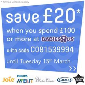 Save £20 when you spend £100 or more at Babies R Us