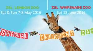 Updated for 2017 - London Zoo Special Childrens Day - 6 / 7 May 2017 2 Adults & 2 Children £44.50 + Under 3s & Carers go Free @ London Zoo