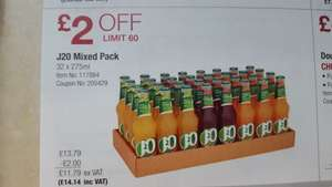 J20 Mixed Pack 32 x 275ml @ Costco - works out 44p per bottle
