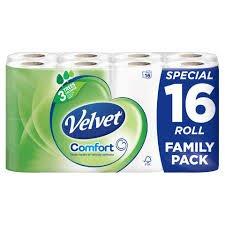 velvet comfort toilet rolls 16 pack £5 @ co-op