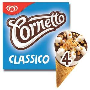 Just one Cornetto, give it to me. Half Price. 3 flavours 4 pack £1 @ Tesco