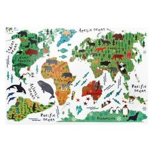 Animal World Map Wall Stickers £1.21 (with code) delivered @ GearBest