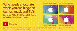 iTunes Gift Card up-to 20% Off . New Easter Offer @ Tesco <> Online + In store