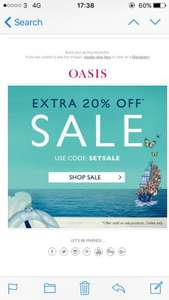 Oasis sale up to 50% off with an extra 20% using code Setsale