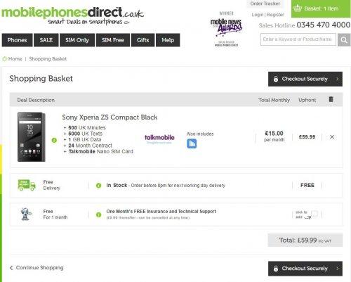 Sony Xperia Compact Z5 £15 per month £62.99 upfront (£30.00 Quidco CB) Mobilephonesdirect via TechRadar