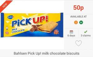 FREEBIES... 6 X Bahlsen Pick Up! Milk Chocolate Biscuits (5) via Checkoutsmart & Clicksnap Apps - £1 @ Sainsbury's & Morrisons...