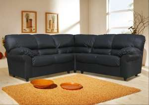 NEW Faux Leather Candy Corner 4 Seater Sofa Black Brown Cream Red Suite White £377.98 @ ebay /  d_furniture