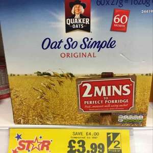 60 Sachets of Oat So Simple Original only £3.99 @ Home Bargains.