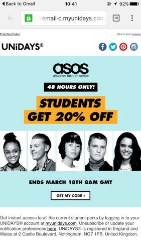 Asos 20% off! unidays Student deal!!