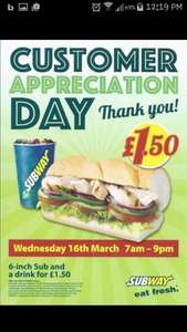 """6"""" sub and drink £1.50 @ subway"""