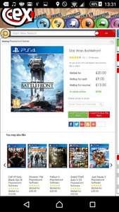 Battlefront PS4 £20 @ CEX, ONLINE AND INSTORE