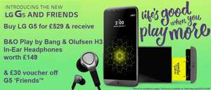 Pre-order LG G5 for £529 and get B&O H3 Earphones worth £149 for free plus £30 'Friends' voucher @ Clove Technology