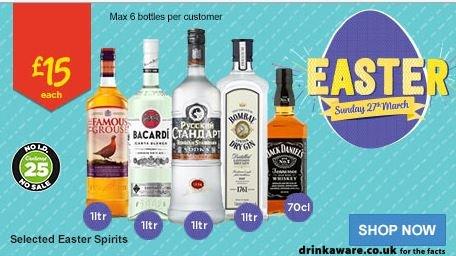 1L/70cl Spirits - £15 Rollback Easter Deals - ASDA - 1L Whiskey, Gin, Vodka, Bacardi, Tia Maria - And 70cl Jack Daniels, Drambuie etc. - See Deal Details
