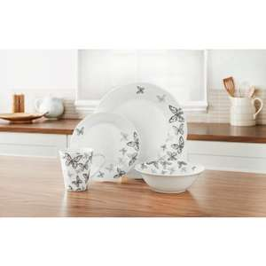 16 piece butterfly dinner set @ B&M