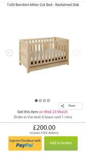 tutti bambini milan cotbed-reclaimed oak - £190 delivered with code @ Direct2Mum