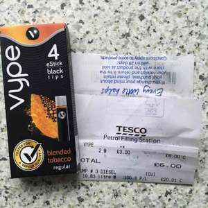 Vype estick tips pack of 4 was £6.00 now £3.00 at Tesco in store