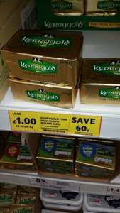 Kerrigold irish butter  £1 @ tesco 250g.