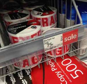 50m fragile tape 75p in store in asda