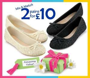 Women's ballet pumps 2 for £10 shoe zone free delivery