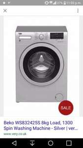 Beko WS832425S 8kg Load, 1300 Spin Washing Machine - Silver £219 @ Very