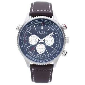 WOW - Rotary Mens' Stainless Steel Chronograph Leather Strap Watch down to £59.99 from £140.99 @ Argos