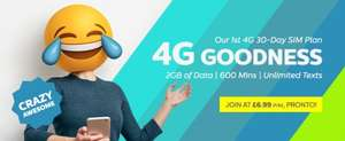 4G plan TPO with 600 mins 2Gb data 30 days plan £6.99