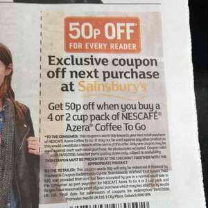50p off Nescafé Azera coffee to go cups (2 or 4 pack) £2.50 @ Sainsburys w/ Free Metro paper