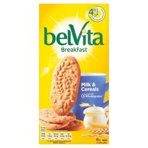 Various Belvita Breakfast Biscuits 6 x 50g, reduced from £2.52 to £1.00 at Morrison's