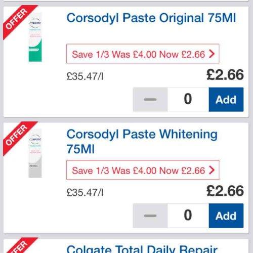 corsodyl toothpaste £2.66 tesco