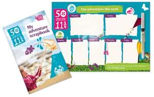 FREE National Trust wipe-clean magnetic fridge planner and adventure scrapbook - 50 things to do before you're 11  3/4