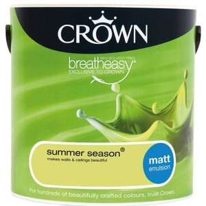 Crown Paint 2.5l £4 each or 3 for £10 at Boyes