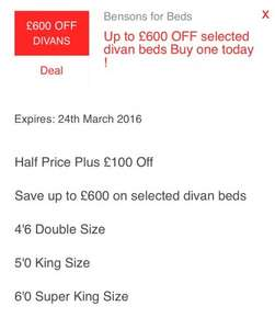 Bensons for beds up to £600 off selected divan beds