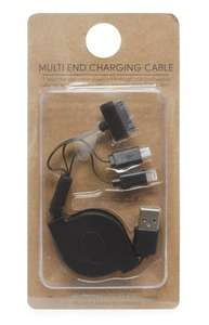 USB Multi Charger Retractable Cable - Apple Lightning, 30 Pin and Micro USB £1.50 @ Primark