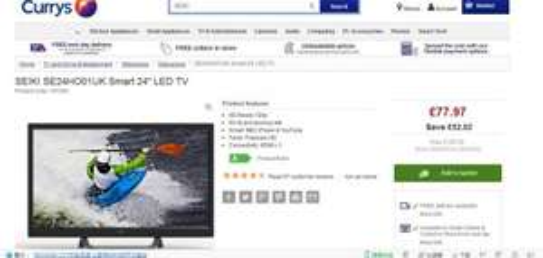 "SEIKI SE24HO01UK Smart 24"" LED TV £77.97 @ currys"