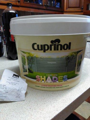 Cuprinol garden shades 9 litres £30 B&Q