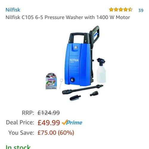 Nilfisk C105 Pressure Washer £49.99 @ Amazon