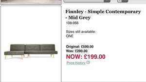 Next Finnley sofa bed was 599 now £199