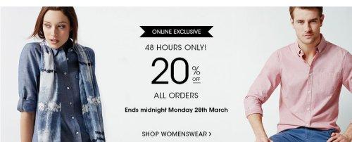 Jaeger flash sale 20% extra off p+p £3.95 or free c+c