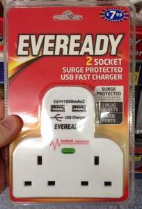 EVEREADY - 2 socket  plug adaptor with 2 USB fast charging point + surge protector £7.99 in store B&M retail