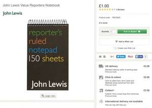 £1.00 Reporter notebooks are back in stock (were discontinued) @ John Lewis (£2 c&c)