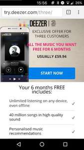 Free 6 month Deezer trial for ALL three customers
