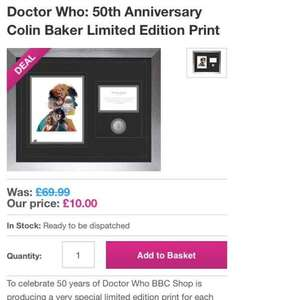 limited edition doctor who framed print was £69.99 - £10 @ BBC shop