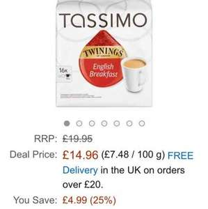 Tassimo Twinings English Breakfast Tea 16 servings (Pack of 5, 80 servings/pods/discs in total) £14.96 (Prime) / £19.71 (non Prime) @ Amazon